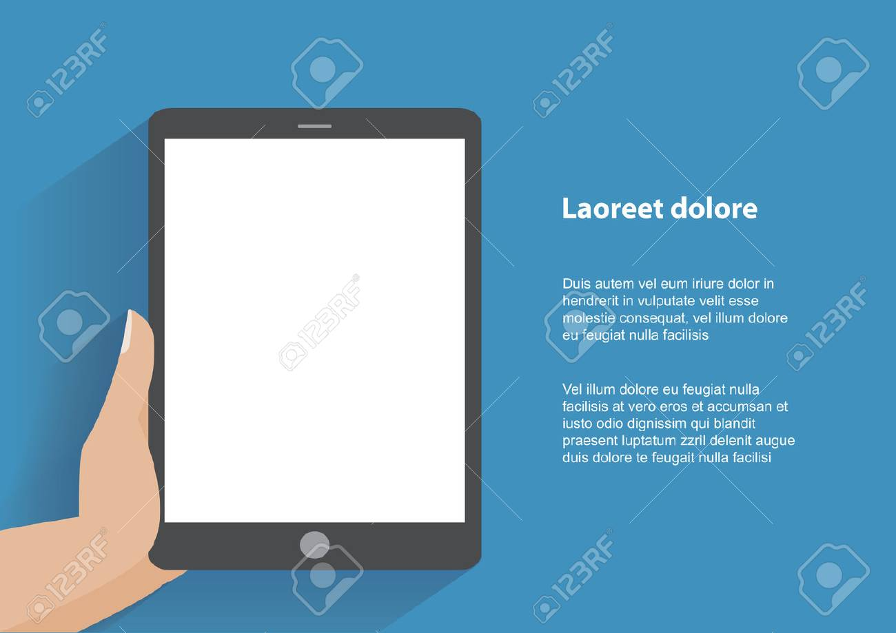 Hand touching blank screen of tablet computer. Using digital tablet pc , flat design concept. - 32514737