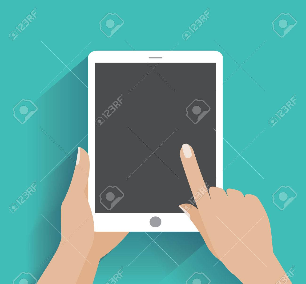 Hand touching blank screen of tablet computer. Using digital tablet pc , flat design concept. - 35849844