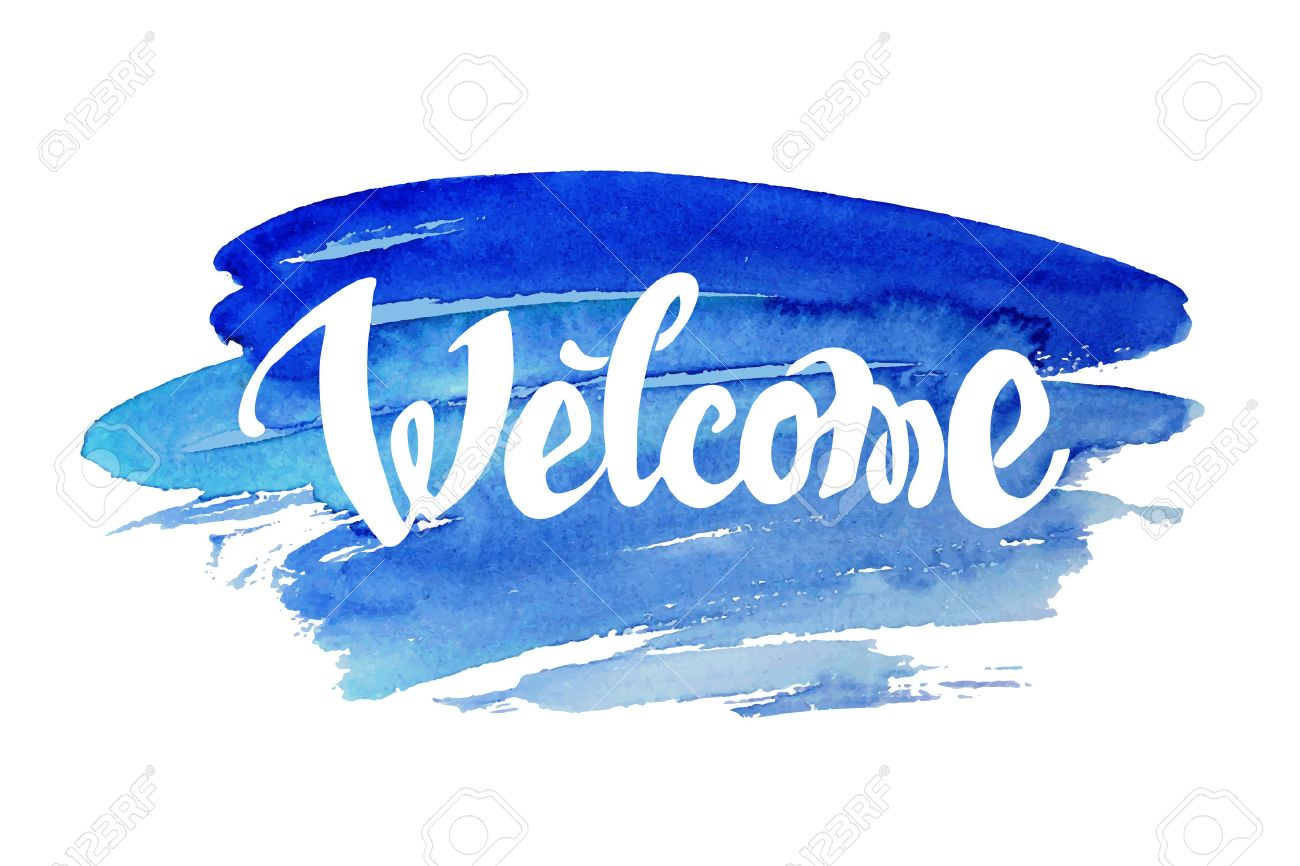 Welcome hand drawn lettering against watercolor background - 35849901