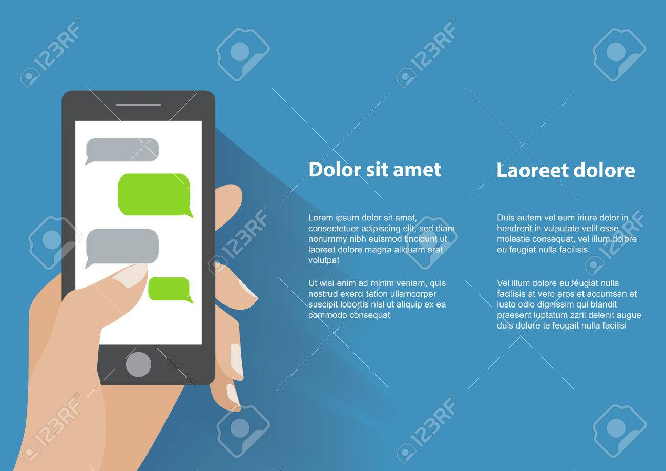 Hand holing black smartphone similar to iphon with blank speech bubbles for text. Text messaging flat design concept. - 36765550