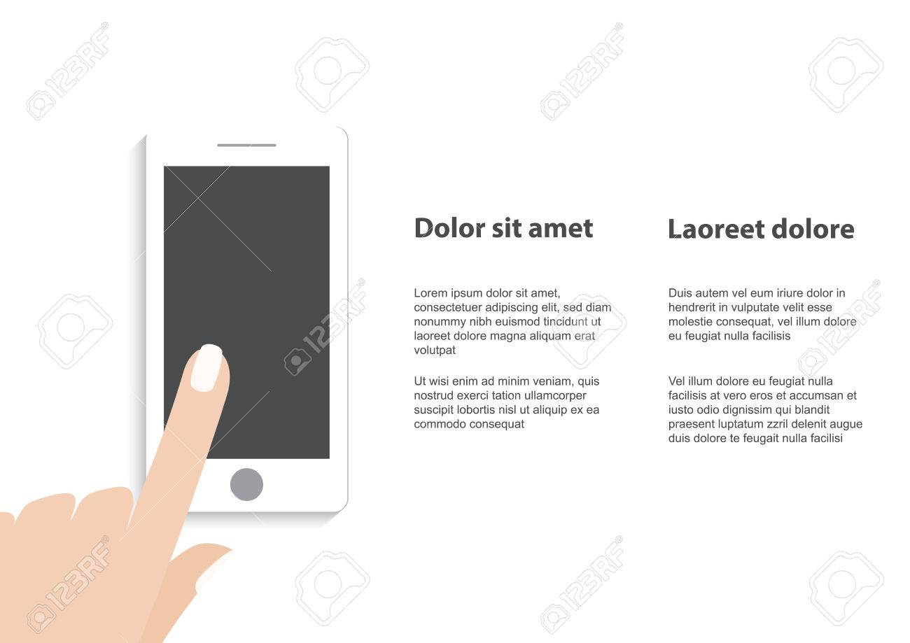 Hand Touching Smart Phone With Email Symbol On The Screen Flat