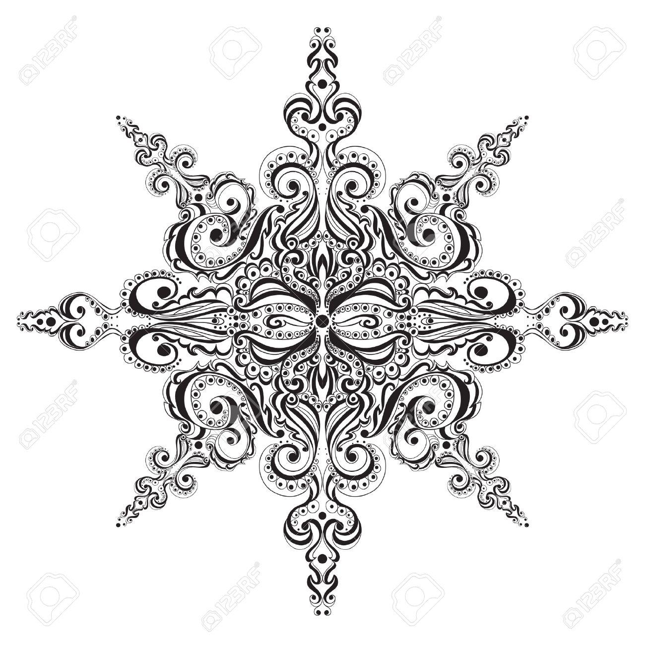 Negro Ornamental Y Copo De Nieve Blanco. Patrón De Tatuaje ...