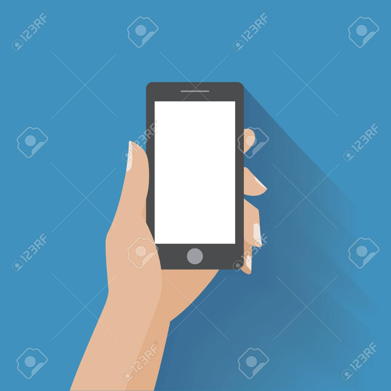 Hand holing black smartphone with blank white screen. Using mobile smart phone, flat design concept. Eps 10 vector illustration - 37768382