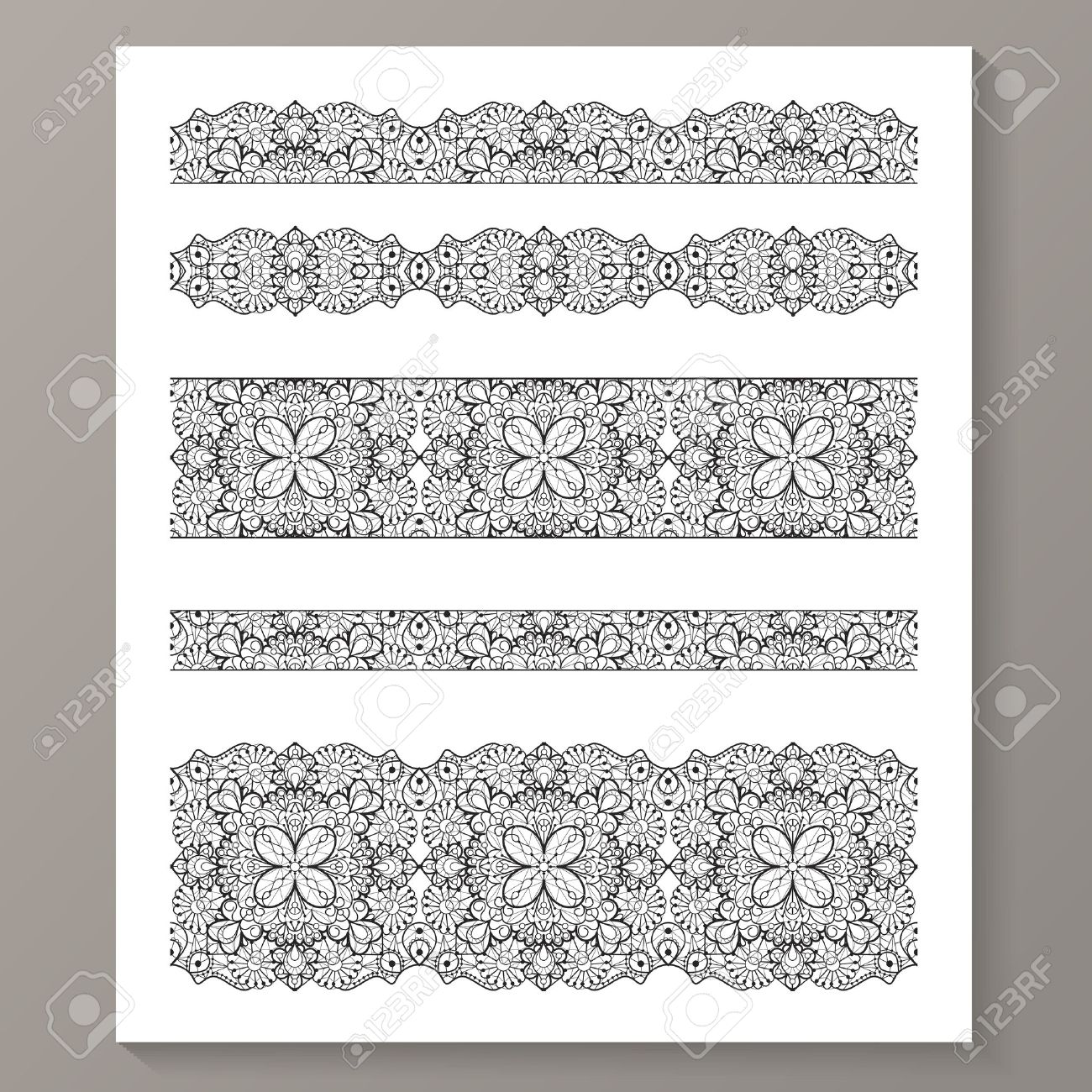 set of seamless lace borders with transparent background can
