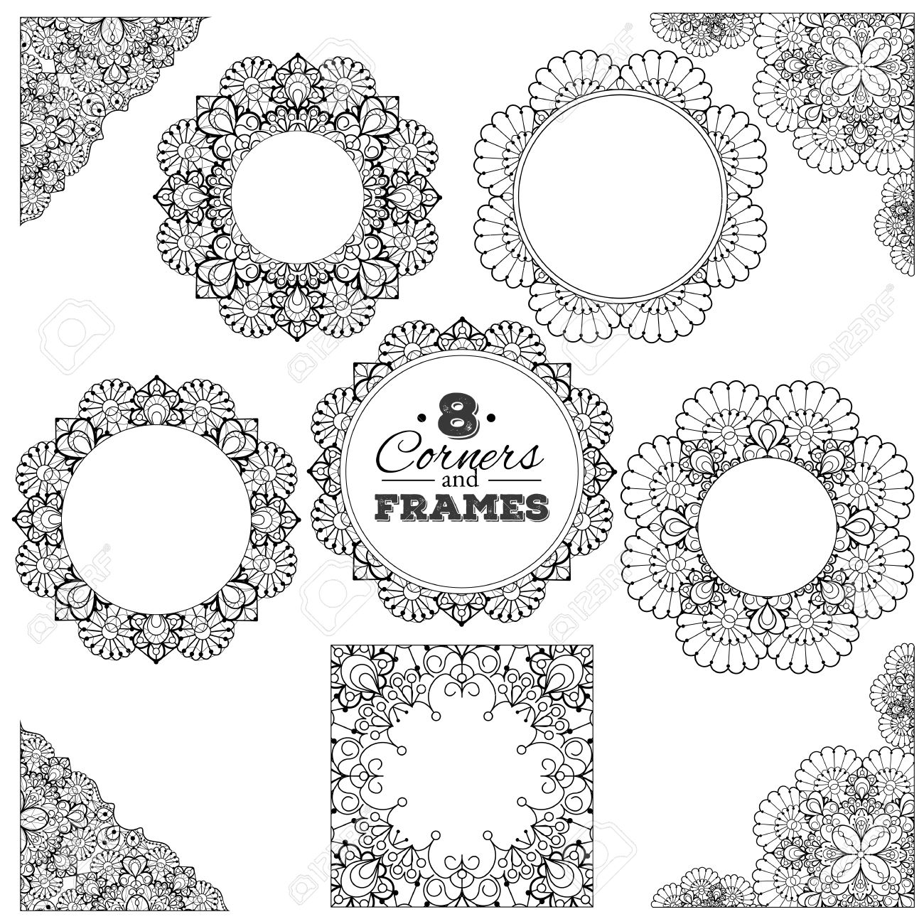 set of lace frames and corners with transparent background. royalty free  cliparts, vectors, and stock illustration. image 38747703.  123rf