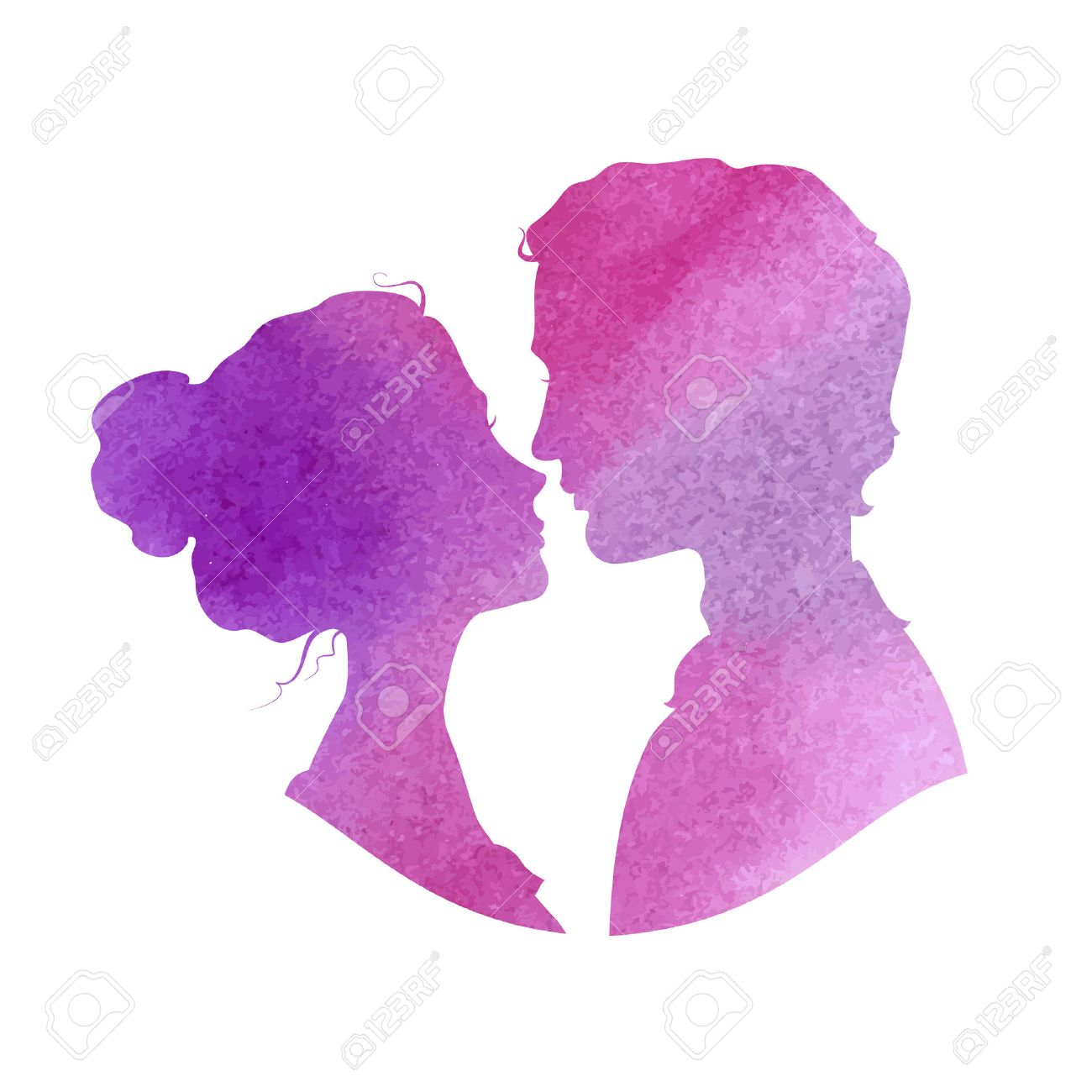 Profile silhouettes of man and woman. - 38747777