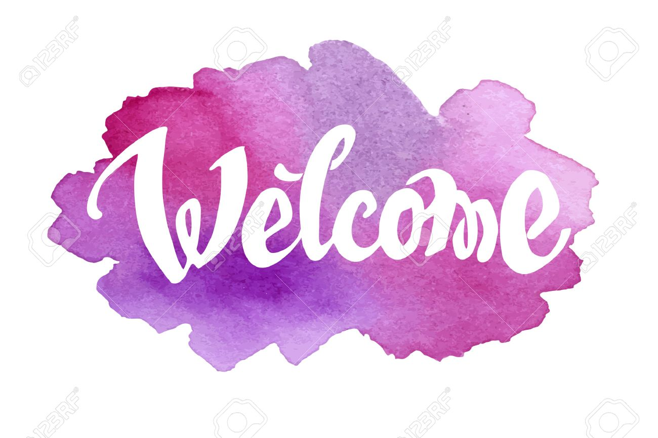 Welcome hand drawn lettering against watercolor background. - 38747884