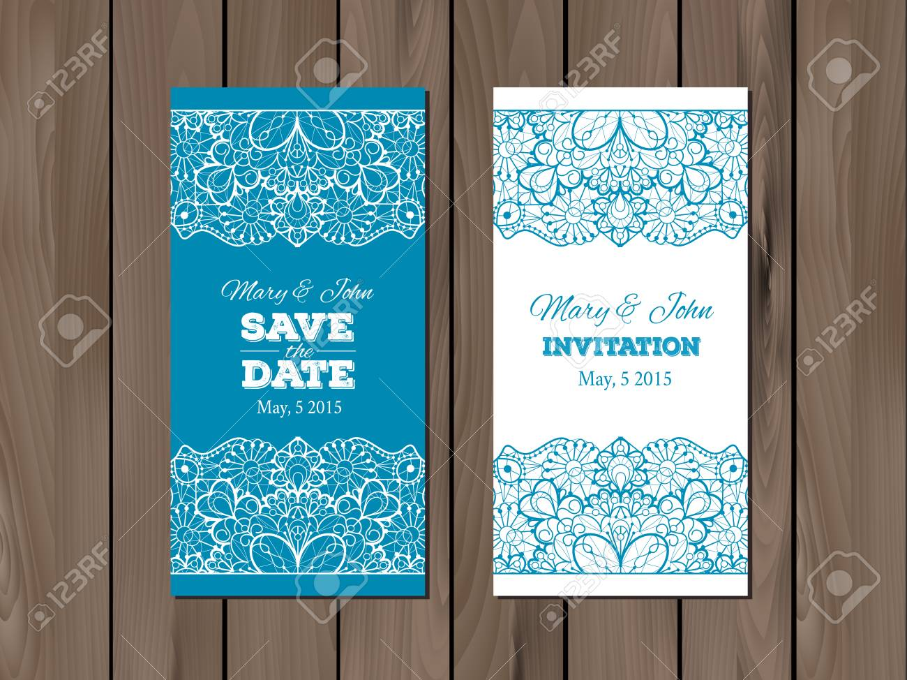 vector wedding invitation save the date card template on a wooden background