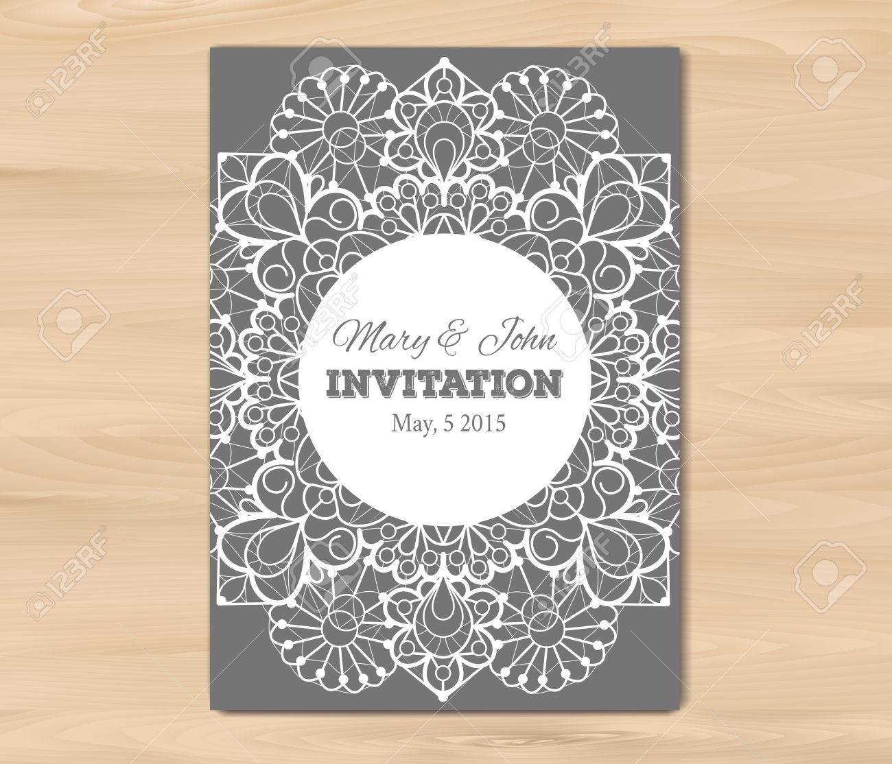 Wedding Invitation, Card Template On A Wooden Background. Vintage ...
