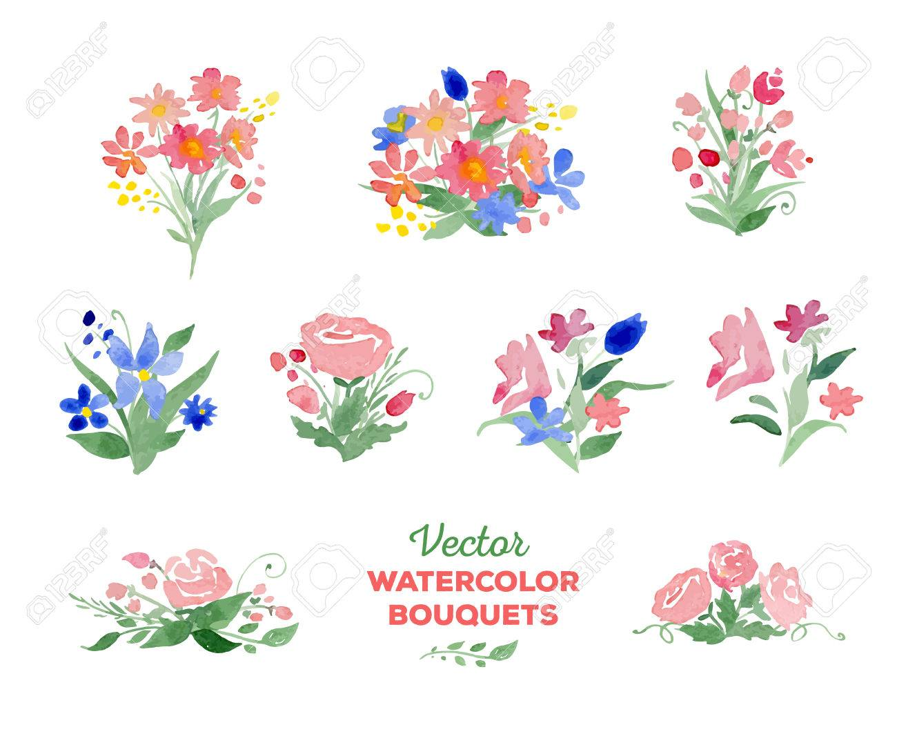 watercolor floral bouquets great for wedding and birthday