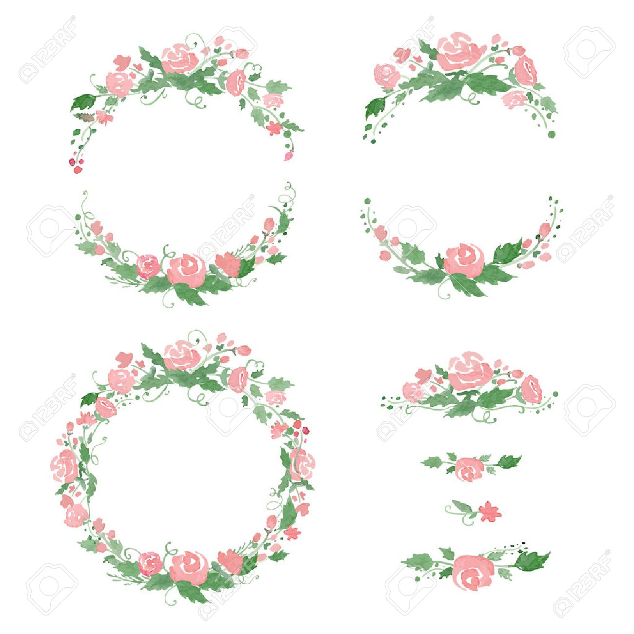 Watercolor floral frames, wreath, dividers. - 39567557