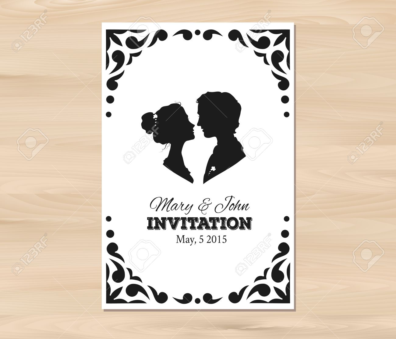 Wedding Invitation With Profile Silhouettes Of Man And Woman ...
