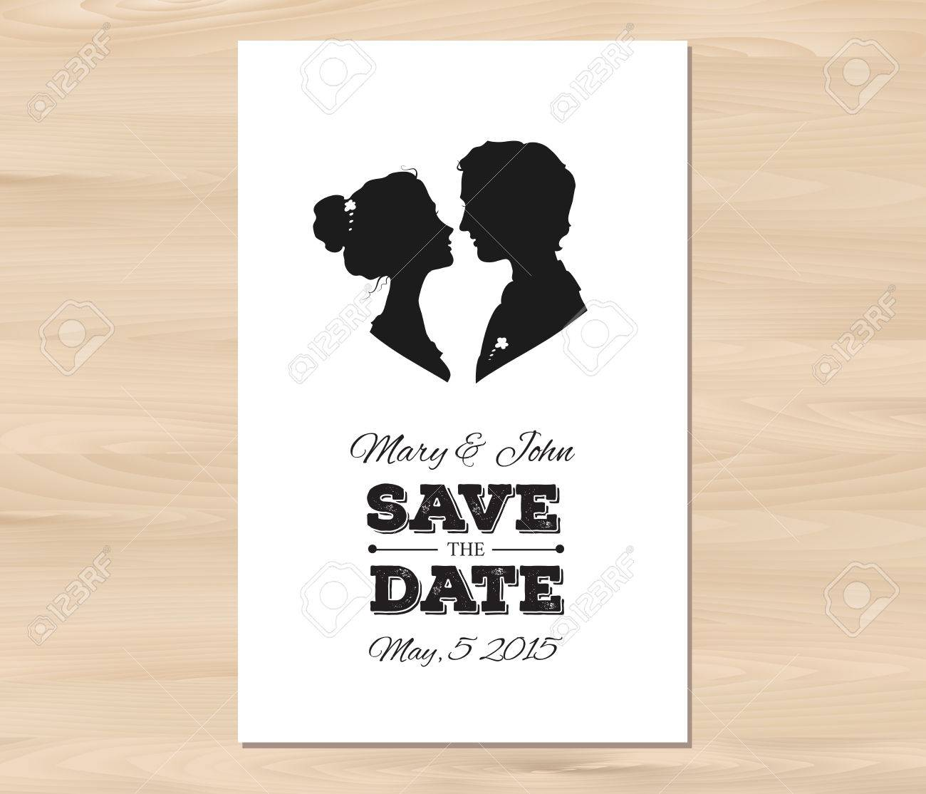Save The Date Wedding Invitation With Profile Silhouettes Of