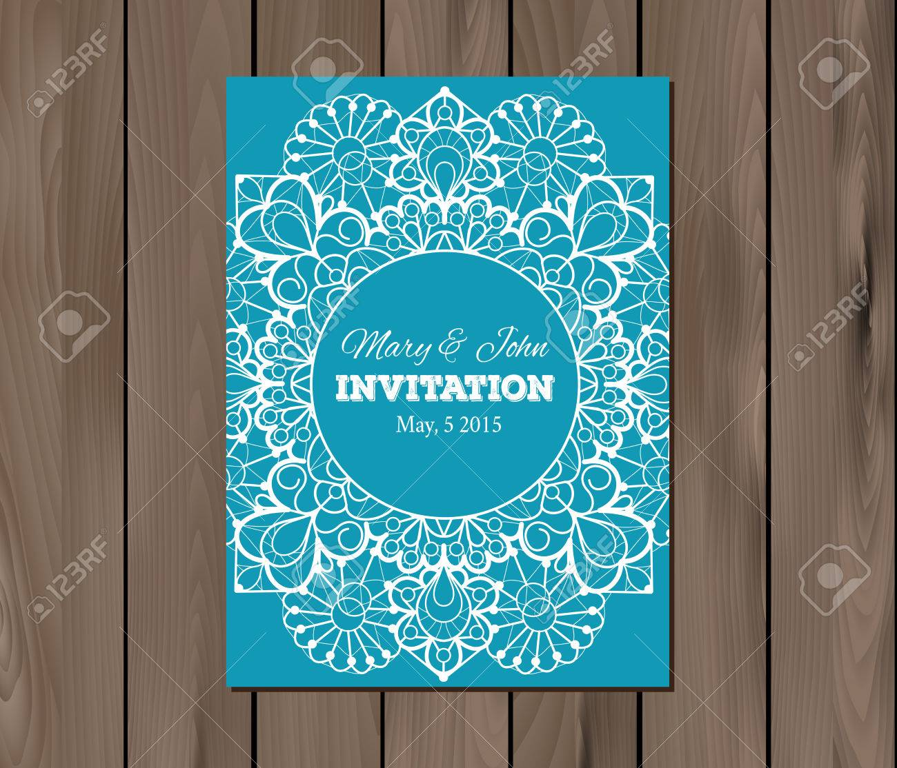 Wedding Invitation Card Template On A Wooden Background Vintage