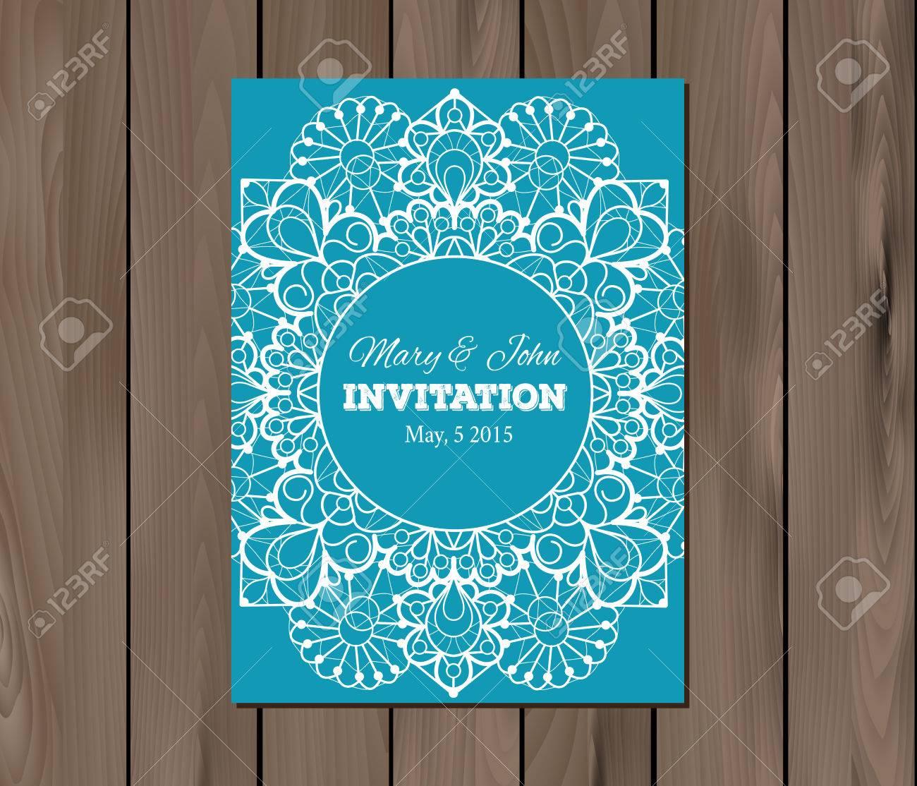 Wedding invitation card template on a wooden background vintage wedding invitation card template on a wooden background vintage lace design eps 10 stopboris Choice Image
