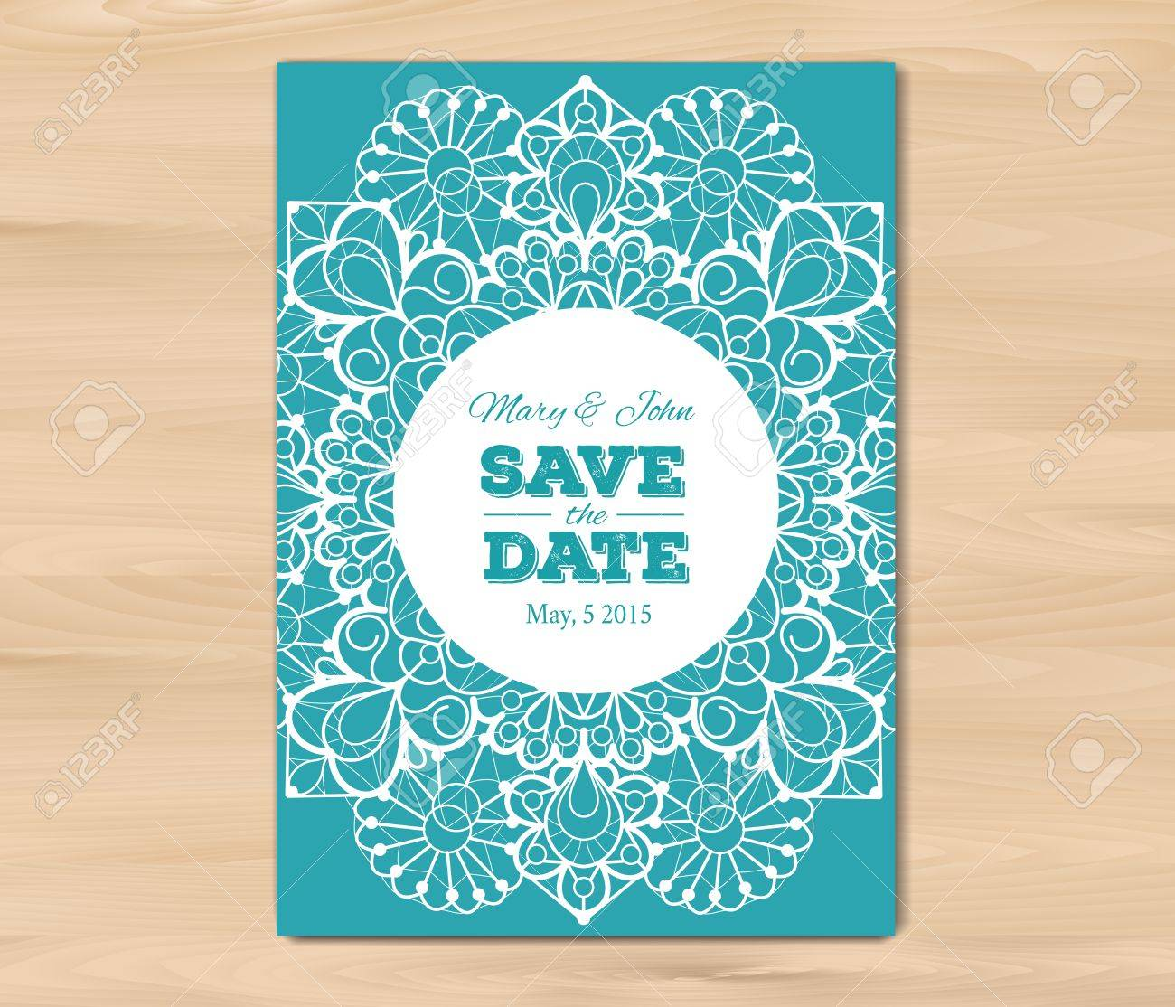 Wedding Invitation. Save The Date Card Template On A Wooden ...