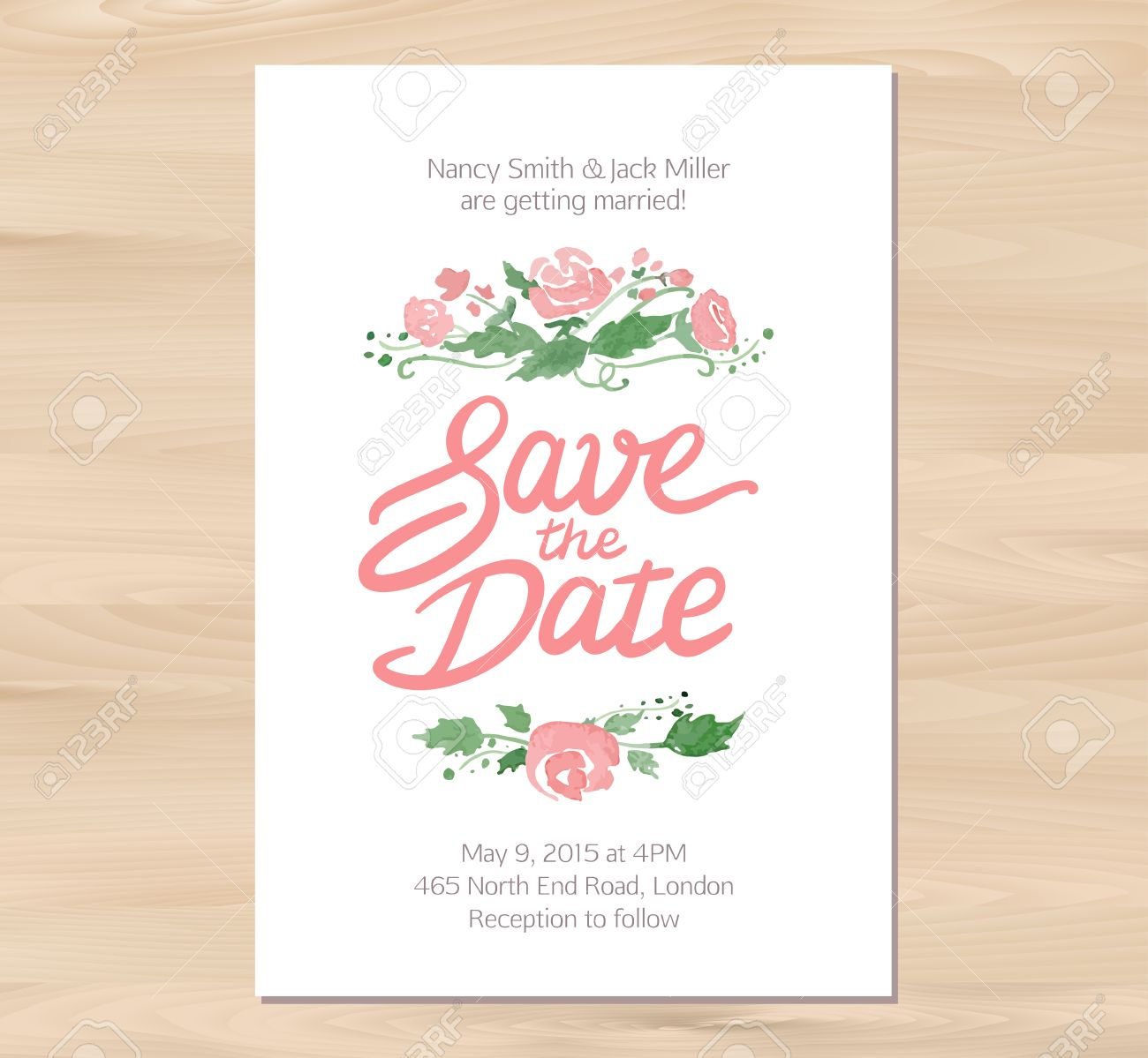 Vector Illustration - Save The Date Wedding Invitation With ...