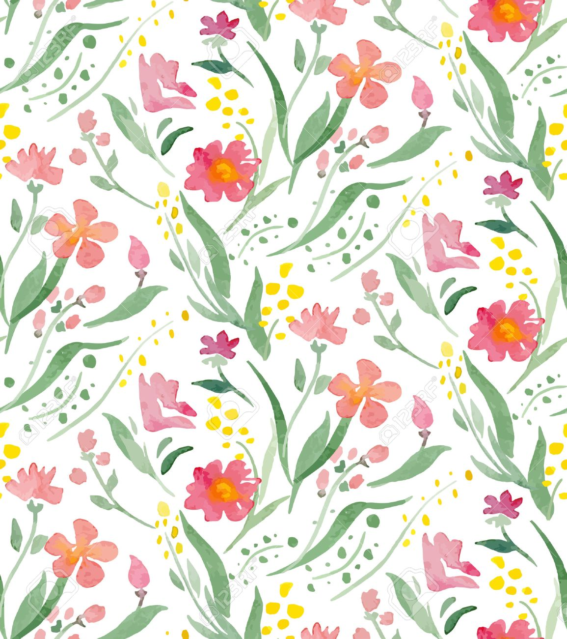 Seamless Pattern With Watercolor Flowers Illustrator Swatch Transparent Background Included Great For Wedding