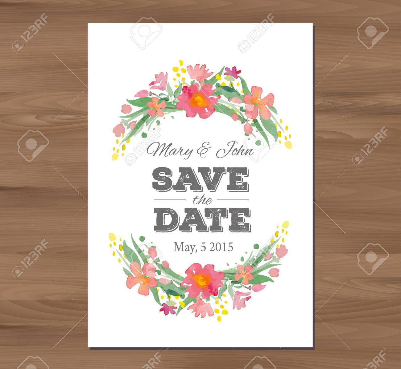 save the date wedding invitation with watercolor flowers and