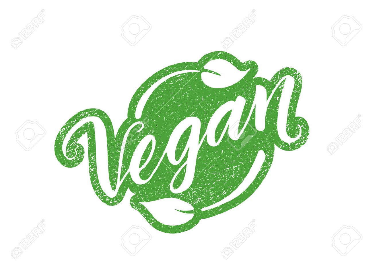 Vegan stamp with hand drawn lettering isolated on white. Layered vector illustration, can be placed on any background you like. Label, badge template - 57335589