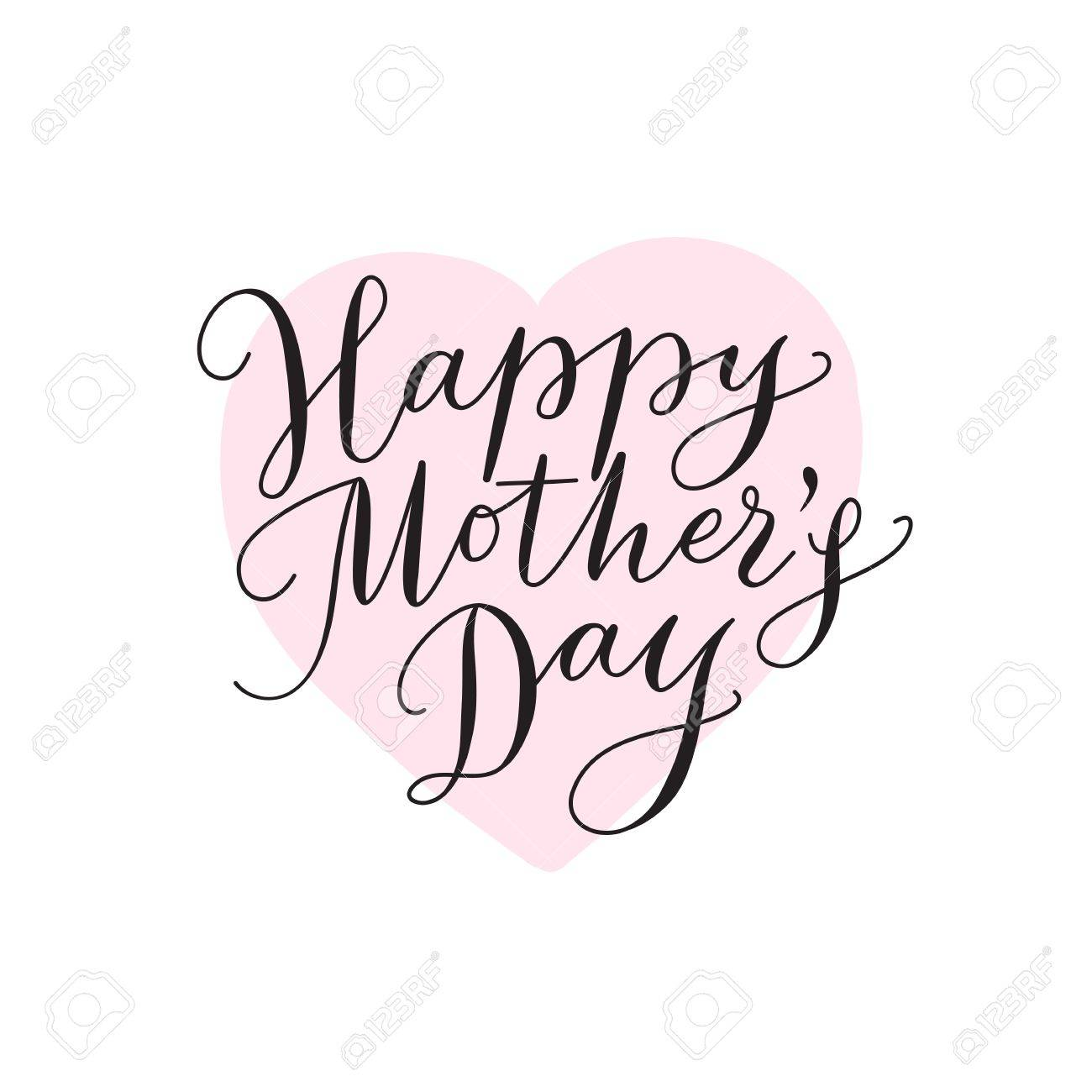 happy mothers day card with heart and hand drawn text lettering