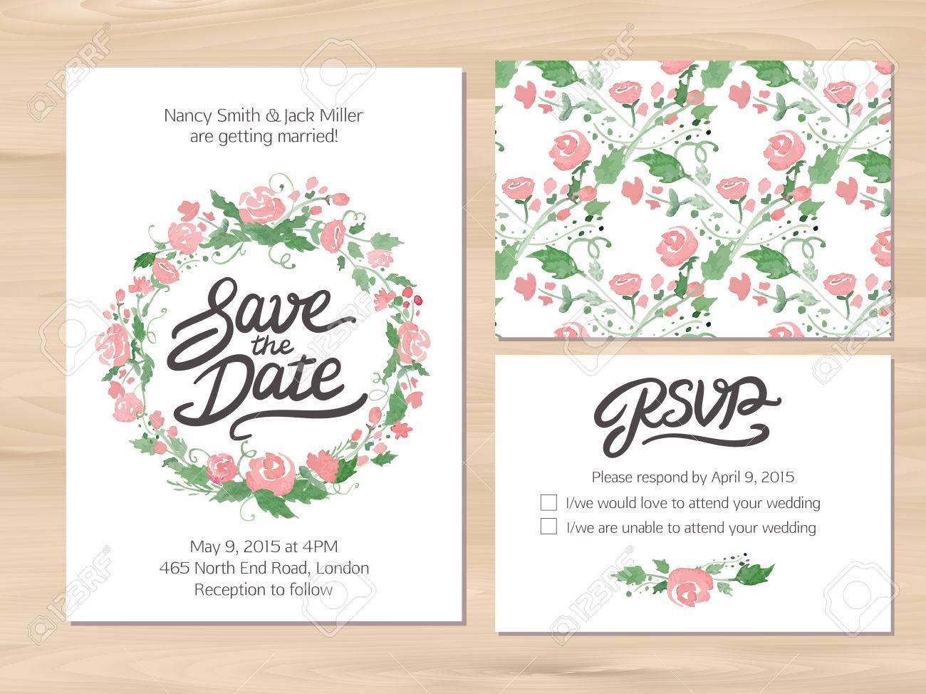結婚式は水彩花で設定し手描きのレタリング日付の招待rsvp
