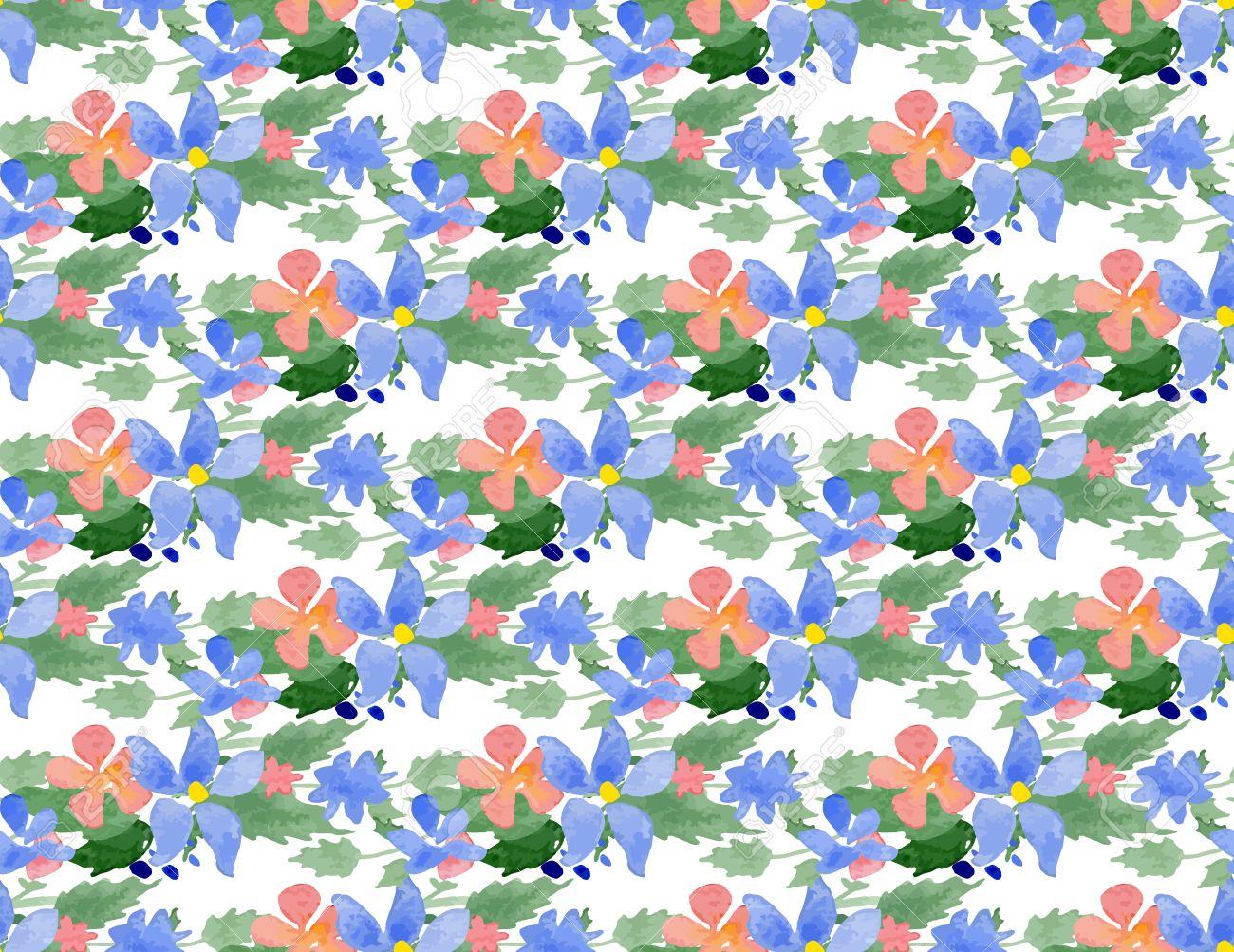 水彩花のシームレスなパターン イラストレーター スウォッチ透明な