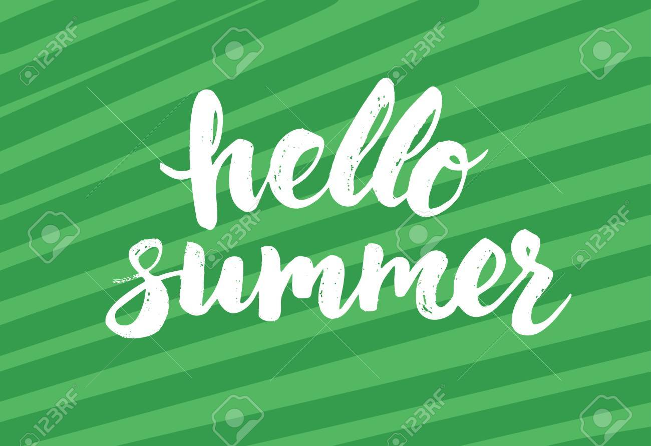 Summer Card With Hand Drawn Brush Lettering. Hello Summer Text. Summer  Background With Calligraphic