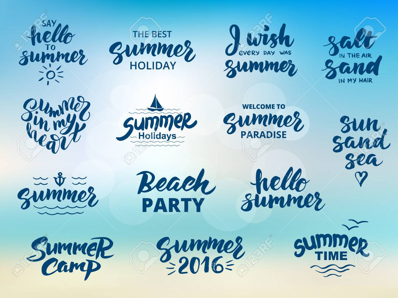 Summer hand drawn brush letterings. Summer typography - hello summer, summer camp, welcome to summer paradise, the best summer holiday, beach party, summer 2016. - 61107665