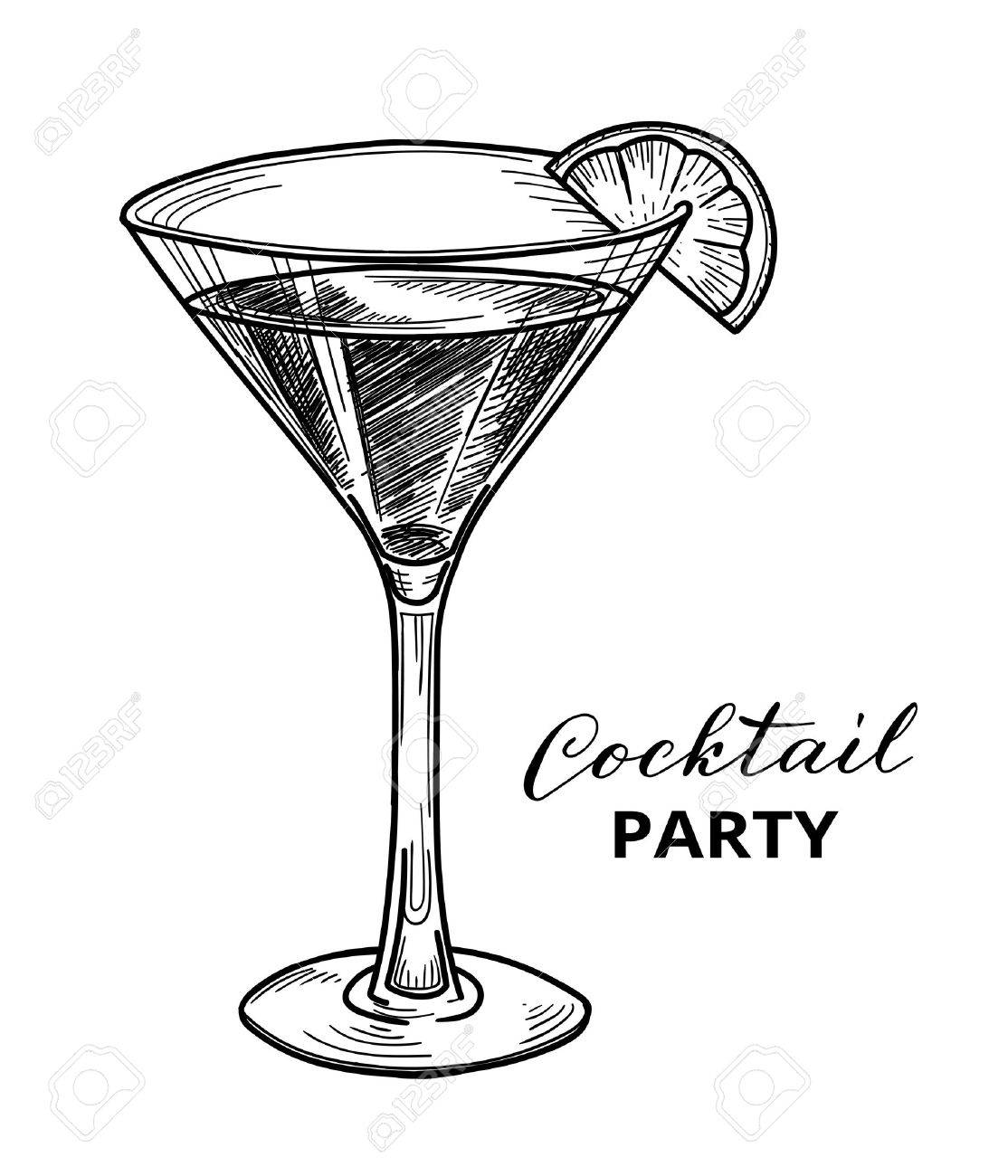 Hand drawn cocktail, vector illustration. Cocktail party design template - 61107669