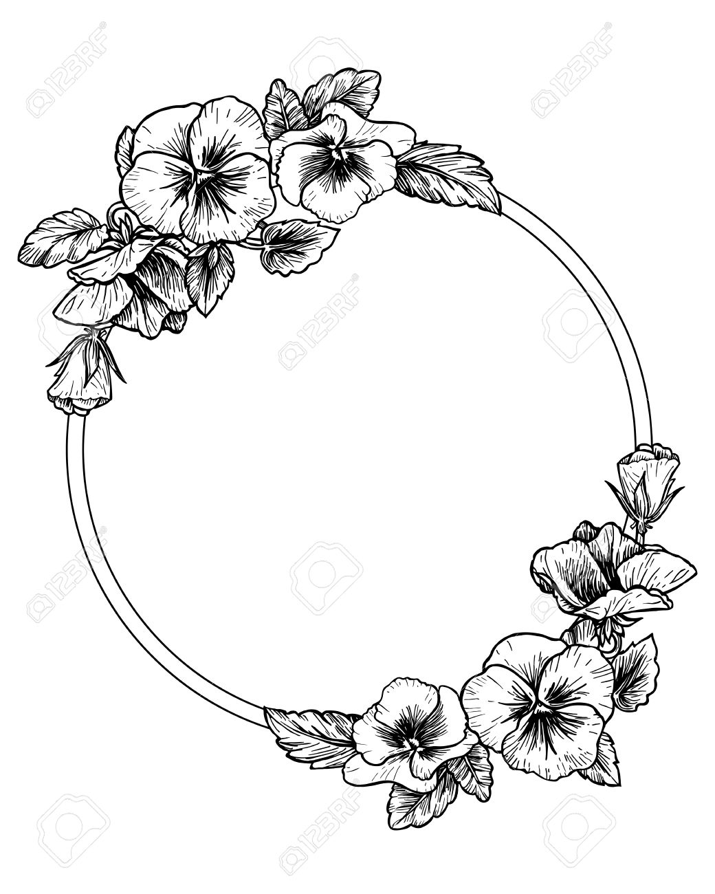Frame With Hand Drawn Pansy Flowers Vector Illustration Vintage