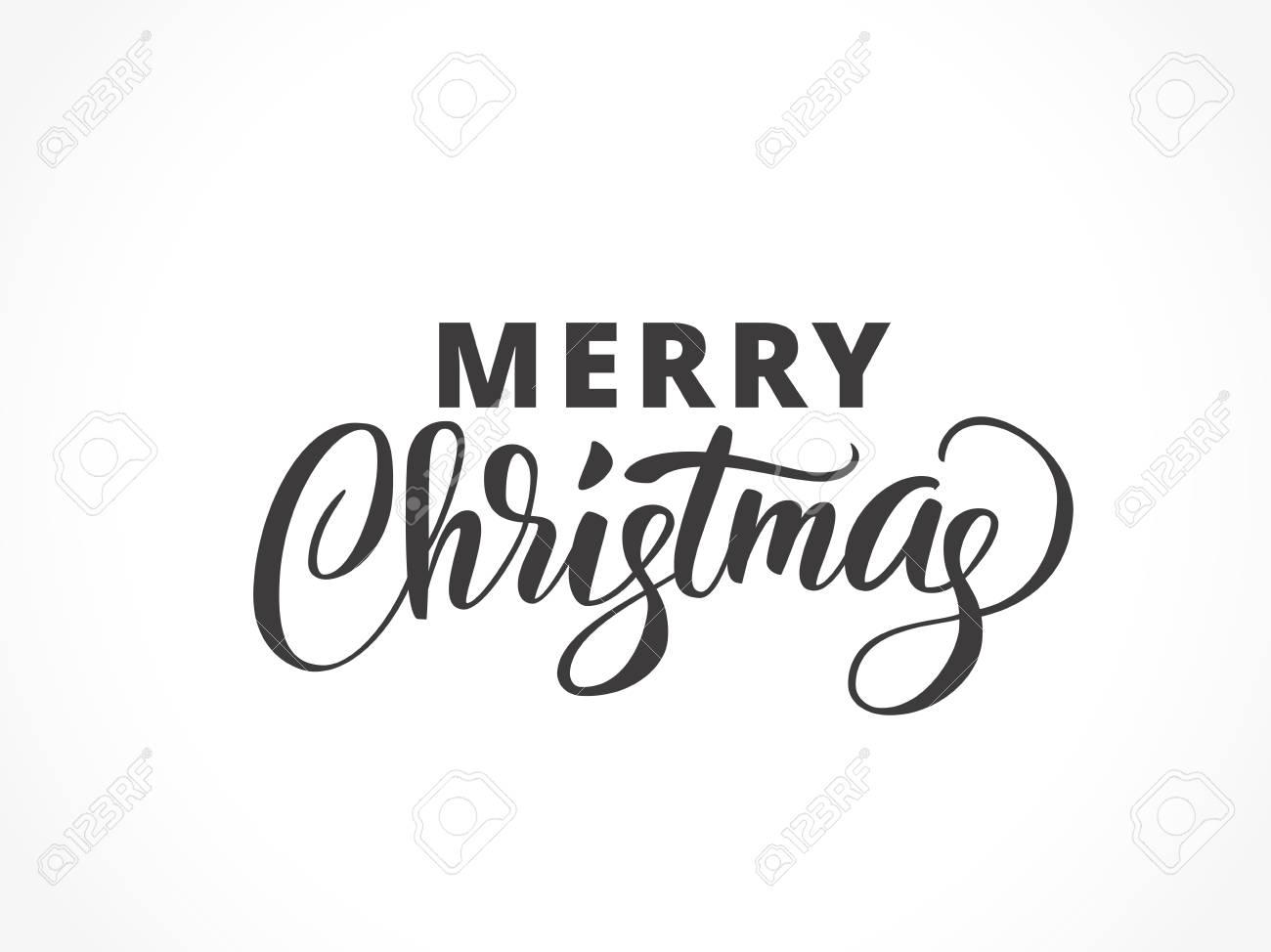 筆文字でメリー クリスマスのタイポグラフィ。クリスマスのロゴ、手書きテキスト、あなたの設計のためのカリグラフィー。EPS10 のベクター イラストです。