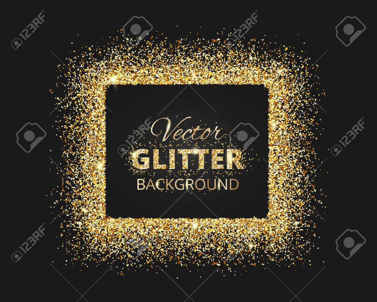 Black and gold background with glitter frame and space for text black and gold background with glitter frame and space for text vector glitter decoration stopboris