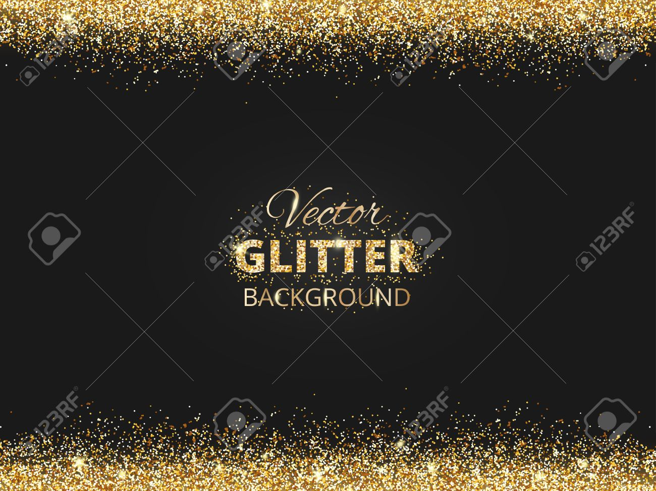 Black and gold background with glitter border and space for text. Vector glitter frame, golden dust. Great for christmas and birthday cards, wedding invitation, party posters and flyers. - 68892767