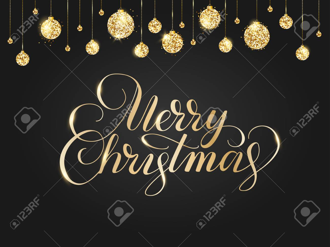 Merry Christmas Card With Lettering And Glitter Decoration. Black ...