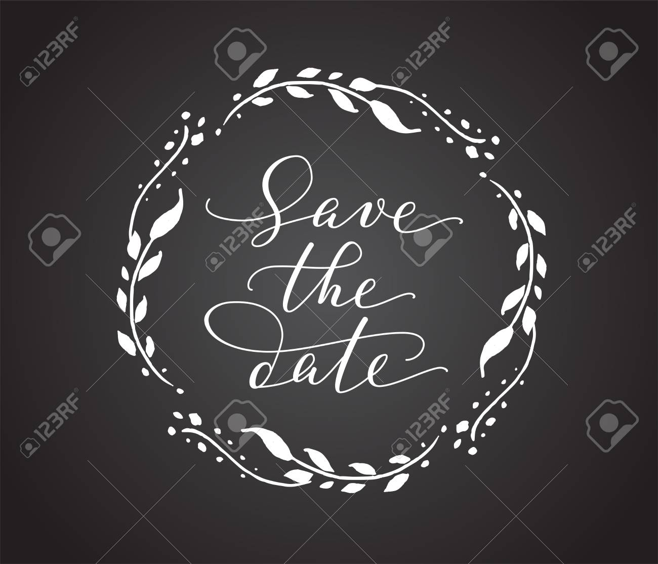 save the date card with floral wreath chalk board style black