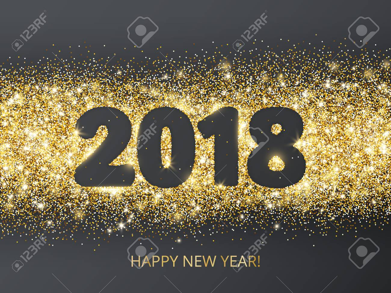 2018 glitter typography design happy new year card golden sparkling vector dust rectangle with