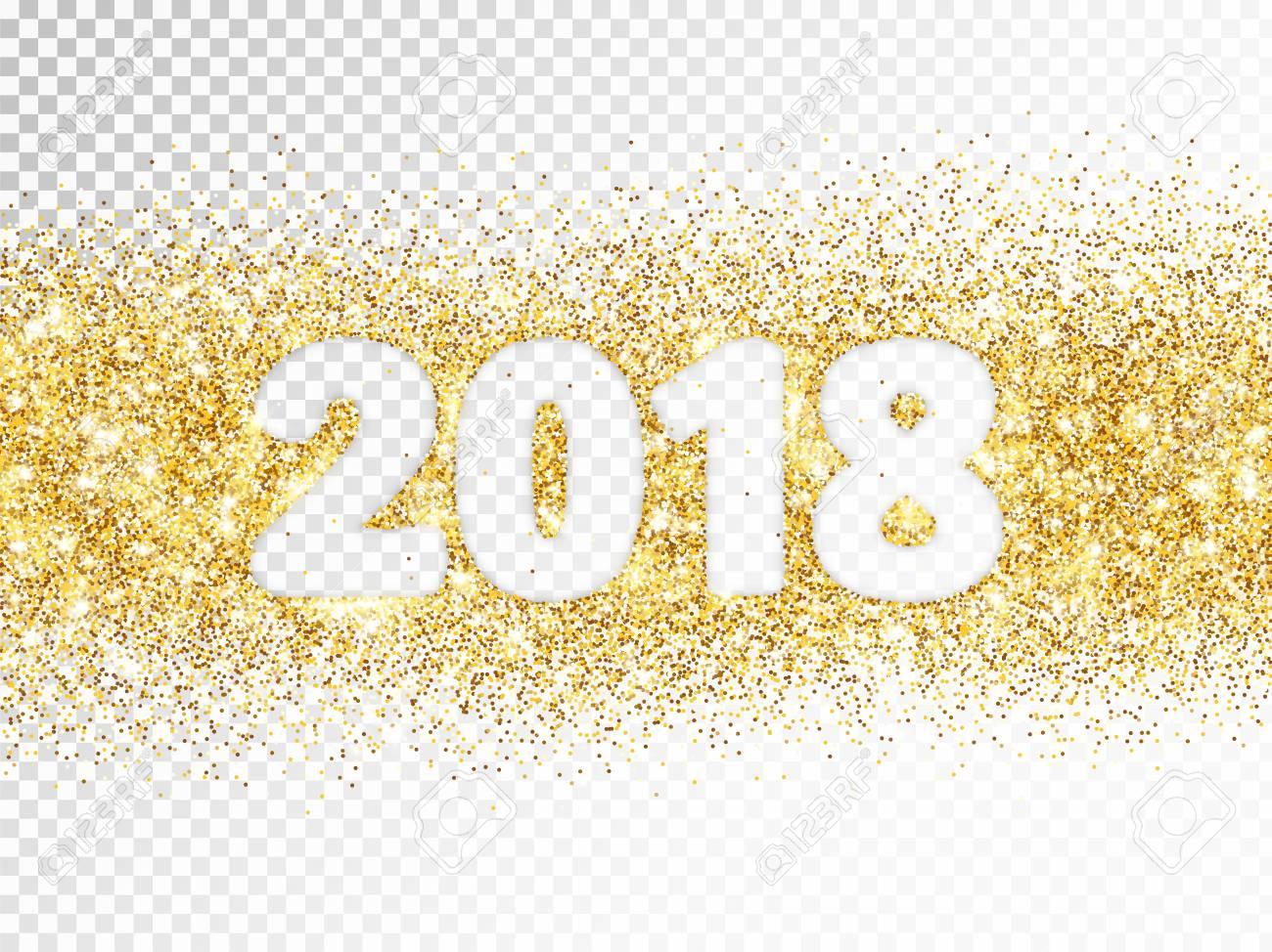 2018 は 透明な背景に分離されたタイポグラフィをキラキラします