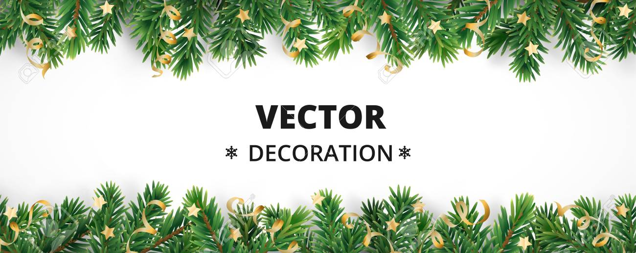 Winter holiday background. Border with Christmas tree branches and ornaments isolated on white. Fir needles garland, frame with streamers. Great for New year cards, banners, headers, party posters. - 89055750