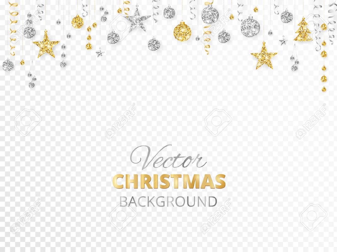 Sparkling Christmas Glitter Ornaments Isolated On Transparent Background Gold And Silver Fiesta Border Garland