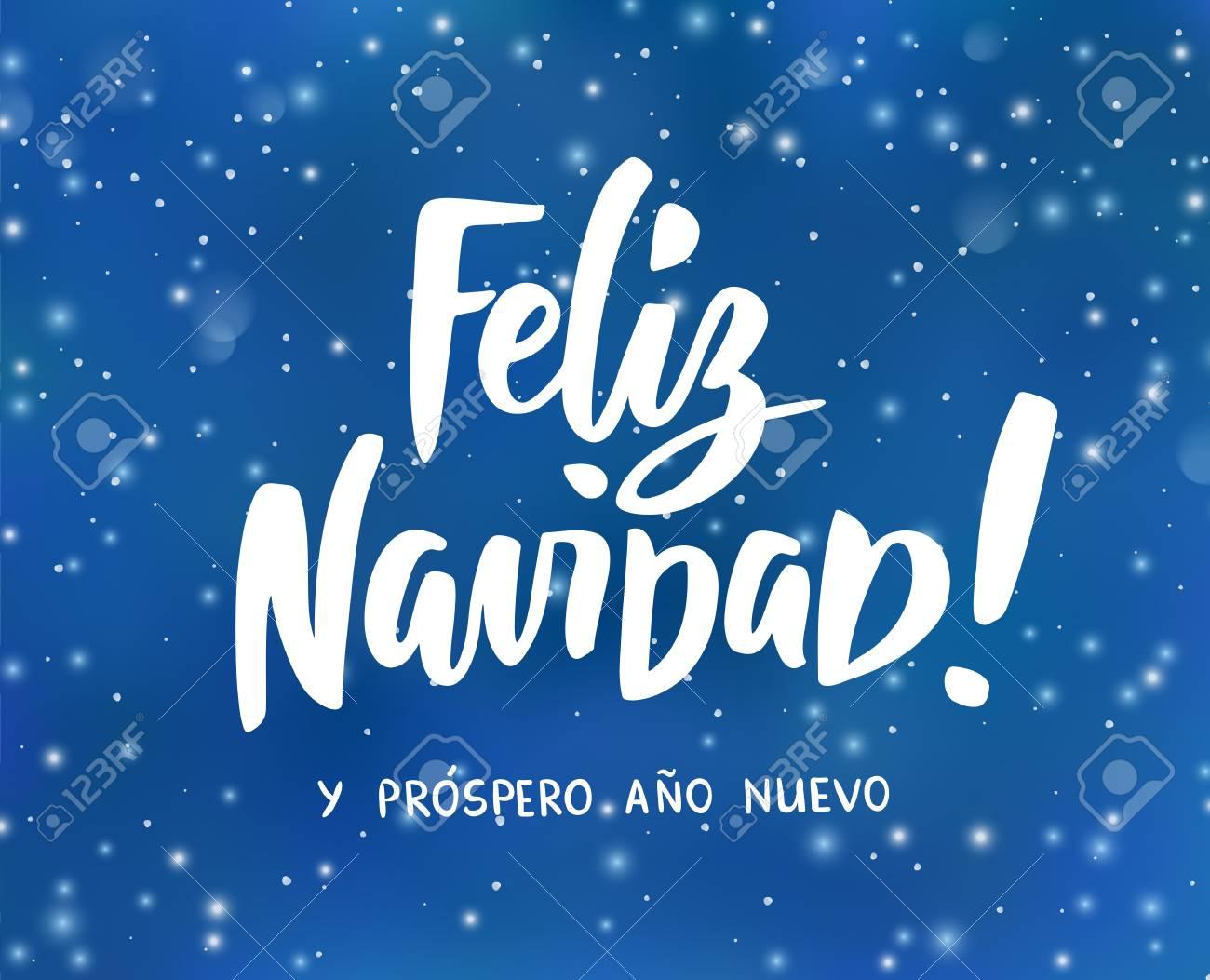 Feliz Navidad Y Prospero Ano Nuevo Spanish Merry Christmas Stock