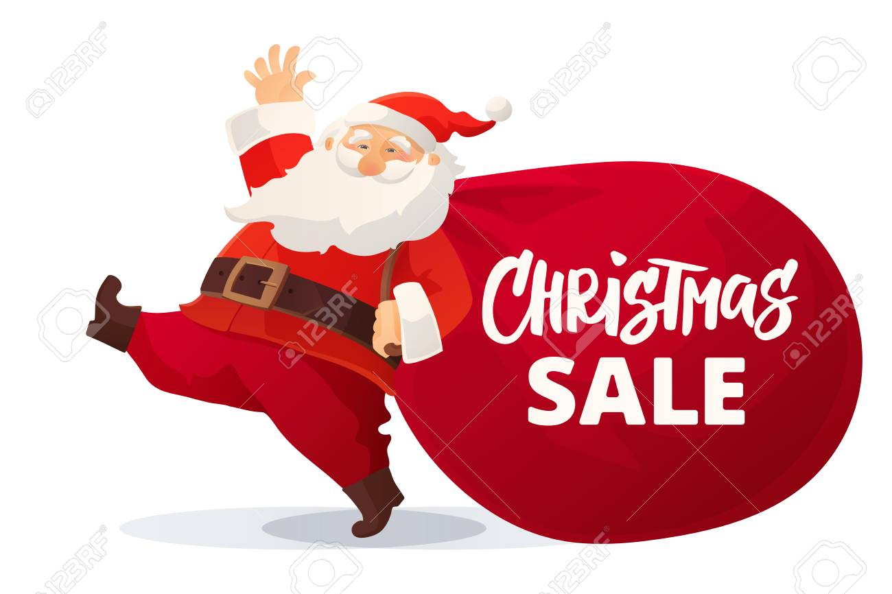 Lustige Karikatur Santa Claus Mit Enormer Roter Tasche Mit Den ...
