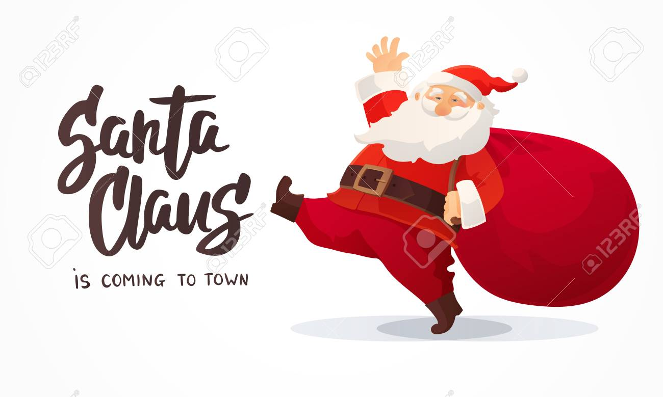 Christmas Card. Funny Cartoon Santa Claus With Huge Red Bag With ...