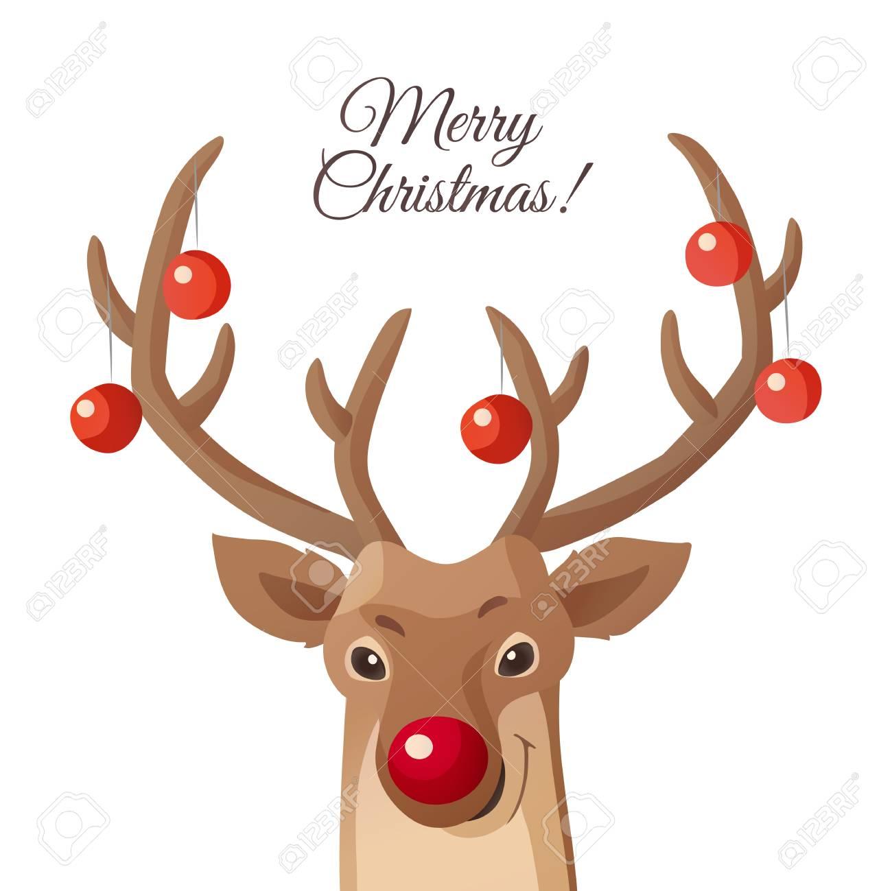 Cartoon Weihnachten Illustration. Lustiges Rudolph Rotes Nasenren ...