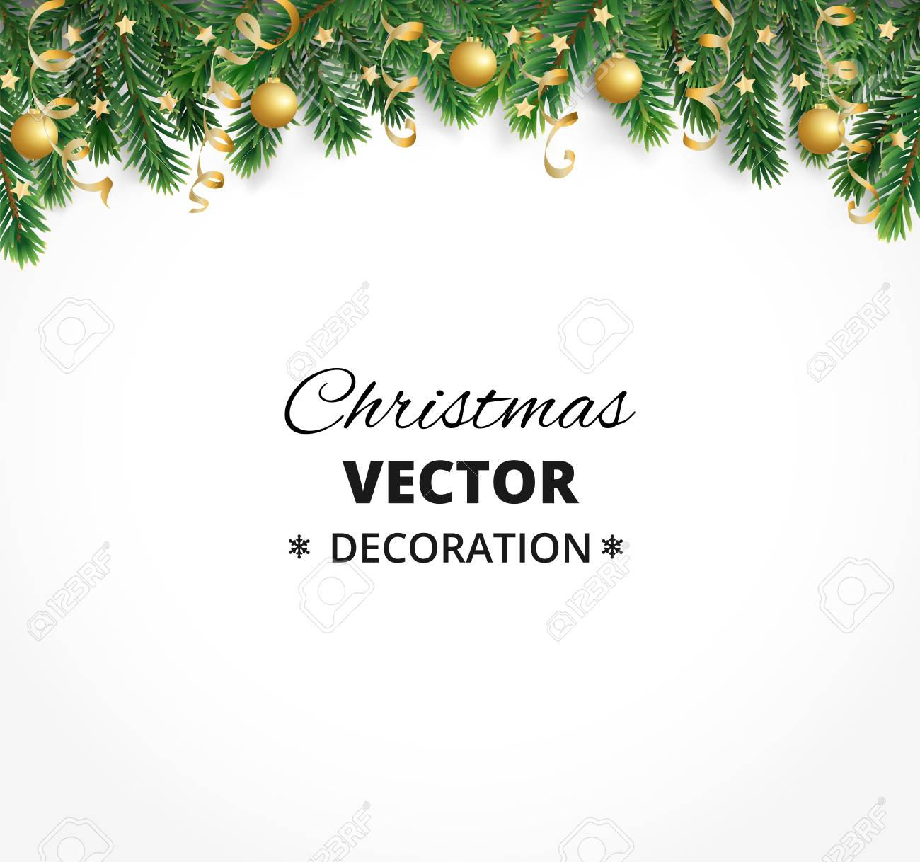 Winter holiday background. Border with Christmas tree branches. Garland, frame with hanging baubles, streamers - 90605319
