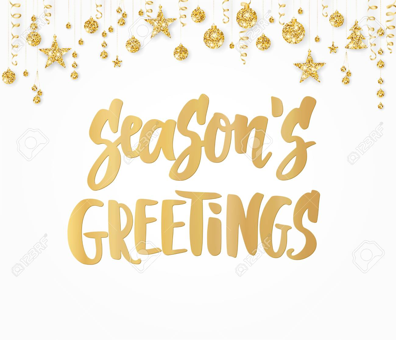 Seasons greetings text hand drawn lettering holiday quote seasons greetings text hand drawn lettering holiday quote on white background golden glitter m4hsunfo