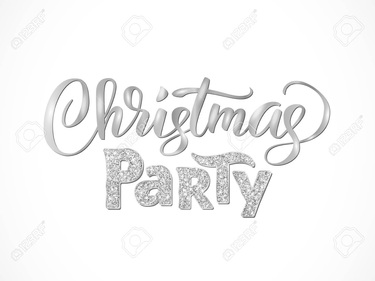 christmas party hand written lettering isolated on white background