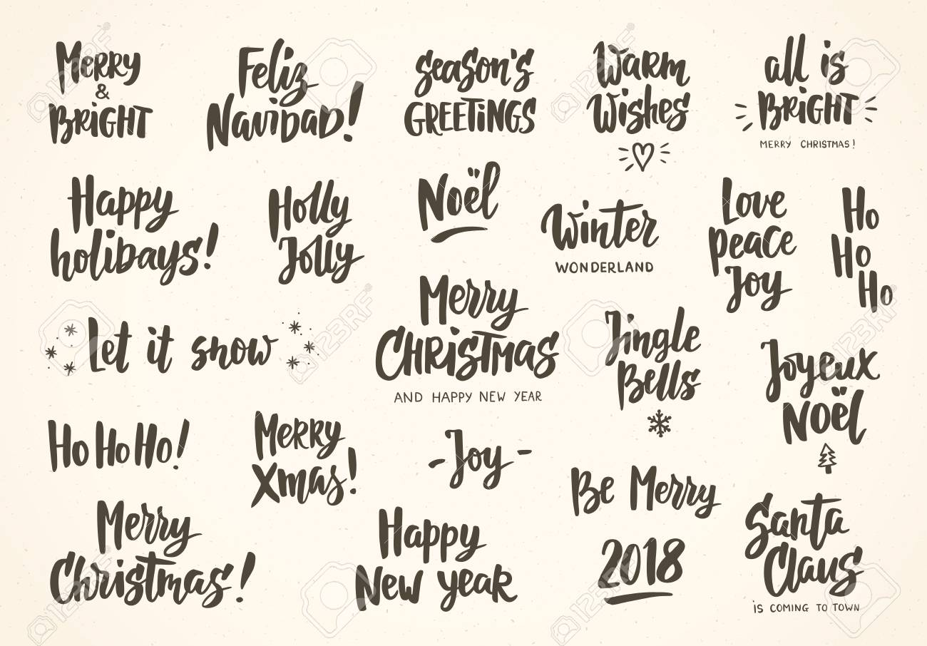 Set Of Holiday Greeting Quotes And Wishes Hand Drawn Text Great