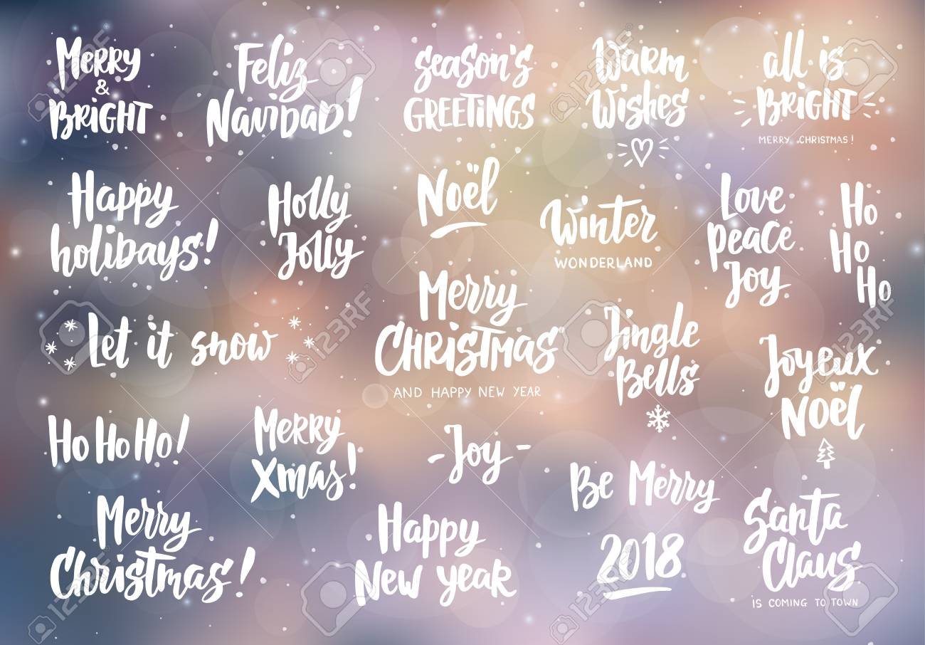 Set Of Holiday Greeting Quotes And Wishes Hand Drawn Text Brush