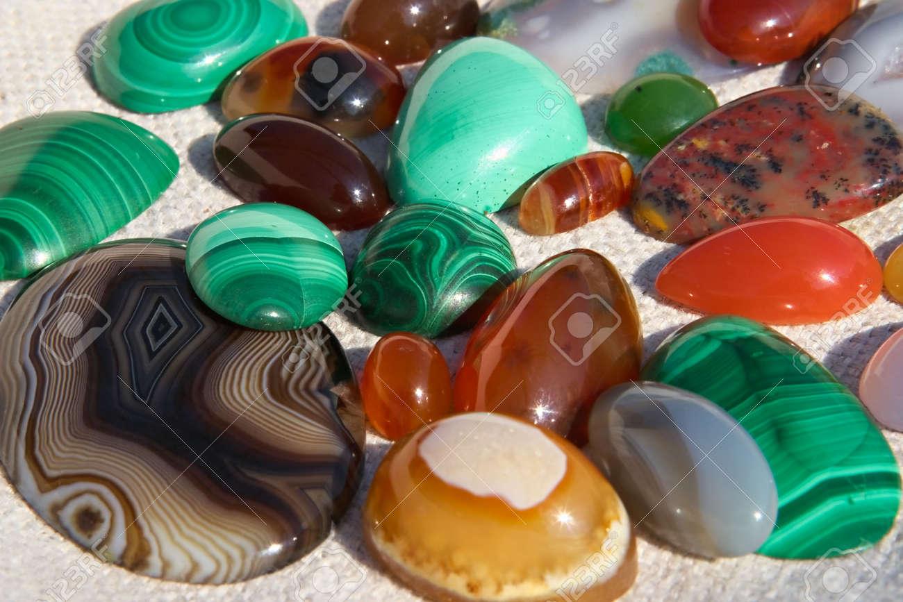 Colourful Semiprecious Stones A-cornelian, Malachite, Onyx Stock ...